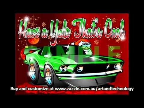 Car Cartoon Hot Rod Amp Custom Customizable Santa Christmas
