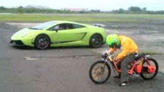 MOPED MIO vs LAMBORGHINI Drag Racing, Who will win?