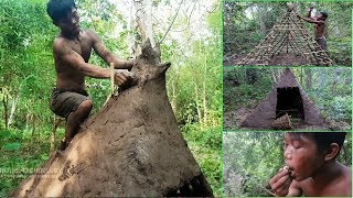 Primitive Technology, Make tribal mud huts by wood bamboo and clay