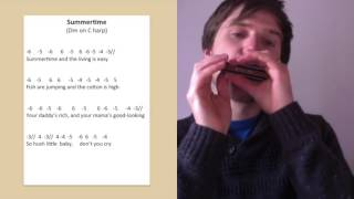 Summertime harmonica lesson on C harmonica (minor blues in 3rd position)