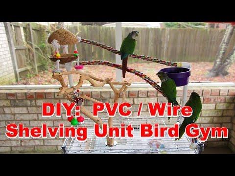 DIY: Wire Shelving Unit Bird Play Gym