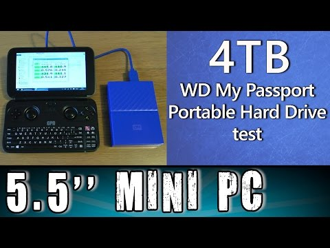 5.5'' GPD Win 4TB WD My Passport HDD test on Portable Handheld Gaming Mini PC Intel X7 Z8700