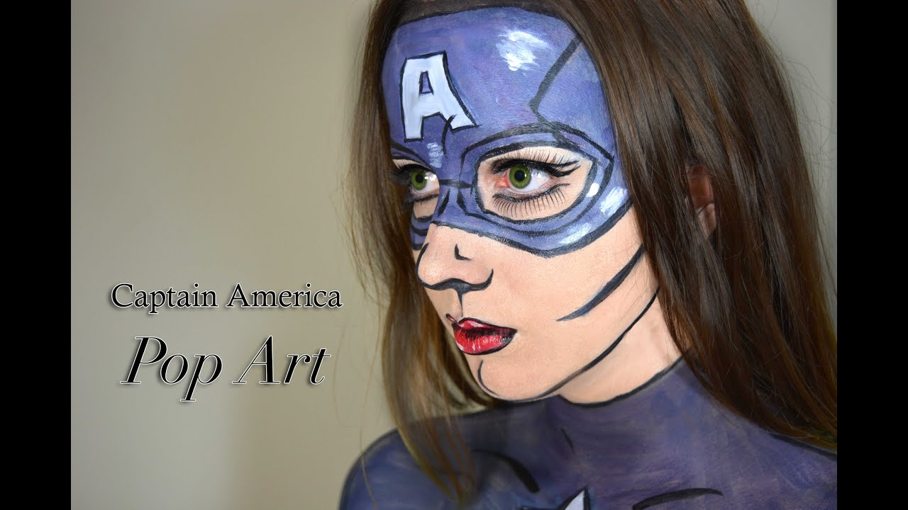 Captain America - Pop Art/ Comic Book Costume Makeup Tutorial - YouTube