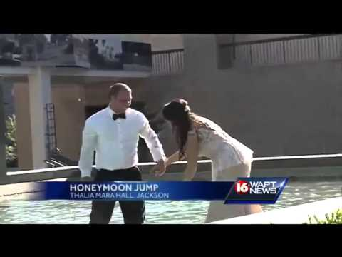 Newlyweds take dip in fountain