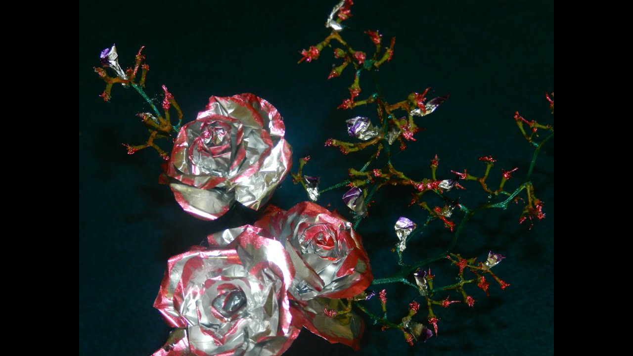 recycled  flower vase made with aluminium foil roses and