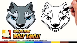 How to Draw Emojis Wolf - Cute Wolf Cartoon for Beginners Step by Step