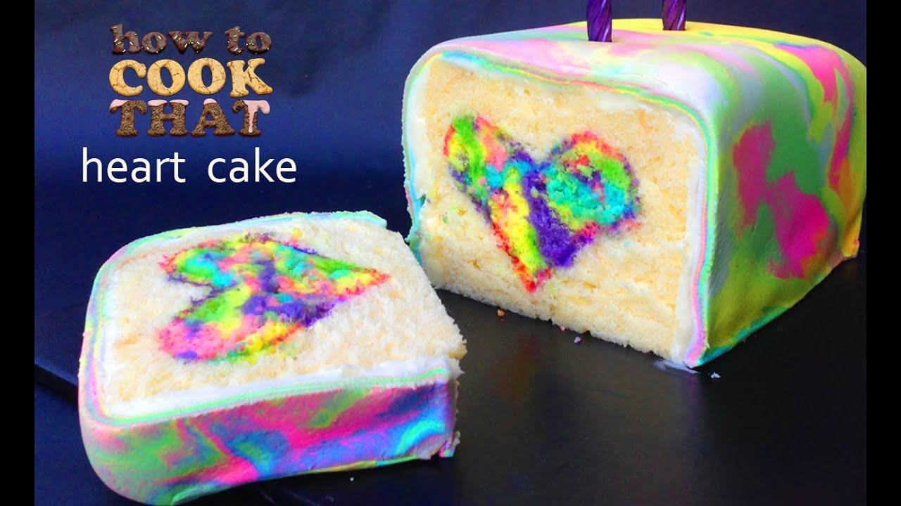 Chocolate Cake With Rainbow Heart Inside