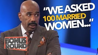 STEVE HARVEY Asks 'We Asked 100 MARRIED WOMEN...' Funny Family Feud Answers | Bonus Round