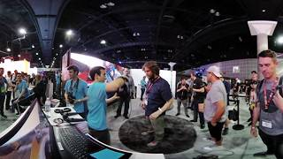 4K 3D 360° VR Blogging E3 2017 : South Hall :  my 2nd Jon Heder VR movie & talking VR with Servios