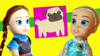 Anna and Elsa Toddlers! Dog at the vets