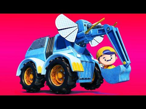 Das Erntedankfest: BAGGER- ELEFANT hebt einen Riesenkürbis auf. - Zeichentrickfilme mit Lastwagen