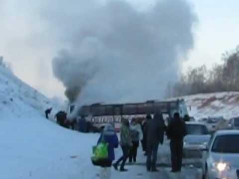 ЧП на трассе М53. Загорелся автобус