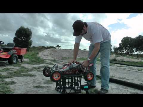 HPI Baja 5B BodySax/MTC twin cylinder 50.8cc 1st start. The Billet Beast!