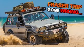 FRASER ISLAND DURING A CYCLONE! 100km+ winds - beach washed away - How do we make it off the island?