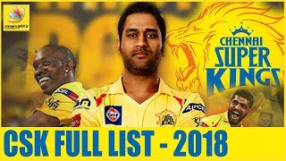 Chennai Super Kings FINAL SQAUD IPL 2018