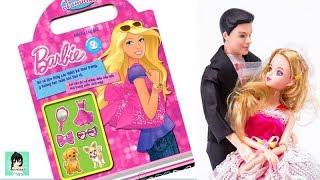 Sách chơi trò chơi, tô màu, dán hình BÚP BÊ BARBIE #2/ Toys for kids Ami Channel