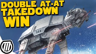 Star Wars Battlefront: DOUBLE AT-AT Tow Cable TAKEDOWN!!  CLUTCH Walker Assault WIN!