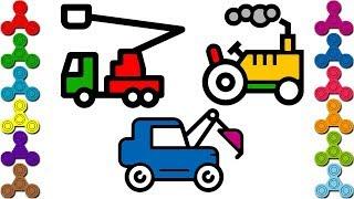 Máy Xúc Đất, Máy Cày, Xe Cần Cẩu   Bé tập tô màu ô tô   Car, Truck Coloring pages   Drawing for kids