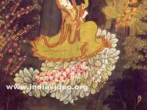 Krishna sending a message to Radha who waits under a tree