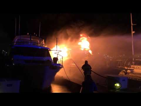 Boat on Fire in San Pedro