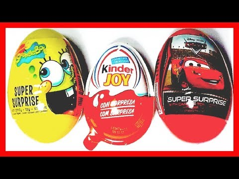 3 HUEVOS SORPRESA. CARS. BOB ESPONJA Y MONSTER UNIVERSITY KINDER JOY. COLECCIÓN 2013. SURPRISE EGG