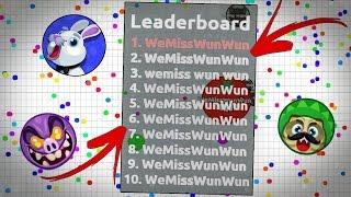 ''WeMissWunWun'' Writing On The Leaderboard - AGAR.IO EPIC LEADERBOARD WRITING FOR WUN WUN!!
