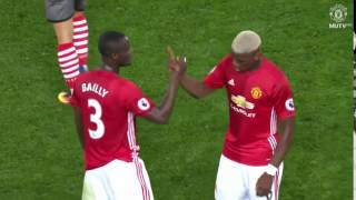 Pogba and Bailly handshake