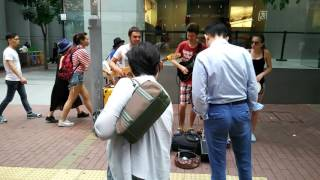 Three Russian students performed in street (Causeways Bay ,Hong Kong)