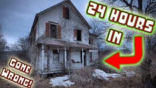 (ATTACKED) 24 HOUR OVERNIGHT CHALLENGE IN ABANDONED HAUNTED HOUSE! // SNEAKING INTO HAUNTED HOUSE!