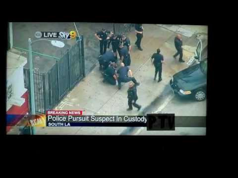 4.30.13 CRAZY L.A.P.D. CAR CHASE & FOOT RACE Ends w/ TACKLE of PERP after TWO CRASHES!!