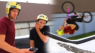 WORLDS FIRST Mega Ramp Tricks with RYAN WILLIAMS! (BMX & SCOOTER)