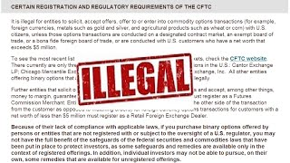 Breaking News...Binary Options is illegal in USA?