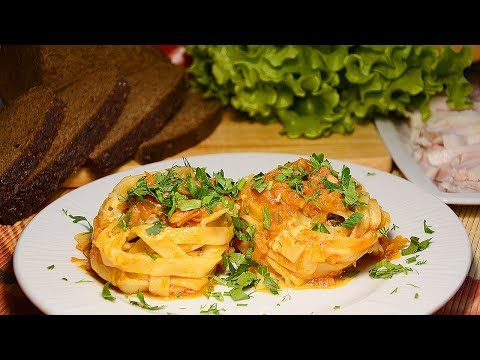 Быстрый ужин - ГНЕЗДА ИЗ МАКАРОН С ФАРШЕМ на сковороде!  Рецепт макарон - гнезд с фаршем пошагово