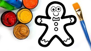 Coloring Gingerbread Man with Paint, Painting Pages for Children to learn to color with paint 💜 (4K)