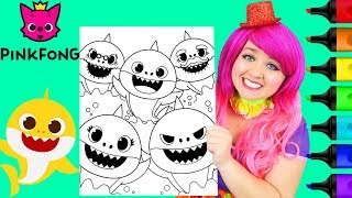 Coloring Baby Shark Family Pinkfong Crayola Coloring Page Prismacolor Markers | KiMMi THE CLOWN