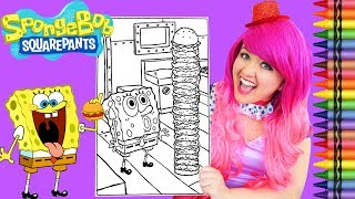 Coloring SpongeBob Squarepants Krabby Patty GIANT Coloring Page Crayola Crayons | KiMMi THE CLOWN