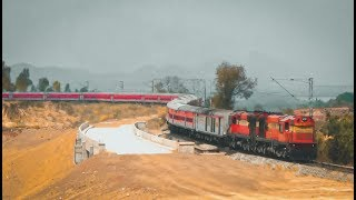 Twin ALCO chugging hard to pull 22 LHB rakes against the high Altitude of the hills of Karnataka
