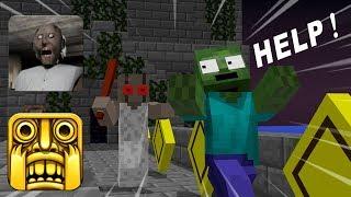 Monster School: GRANNY VS TEMPLE RUN GAME  CHALLENGE - Minecraft Animation