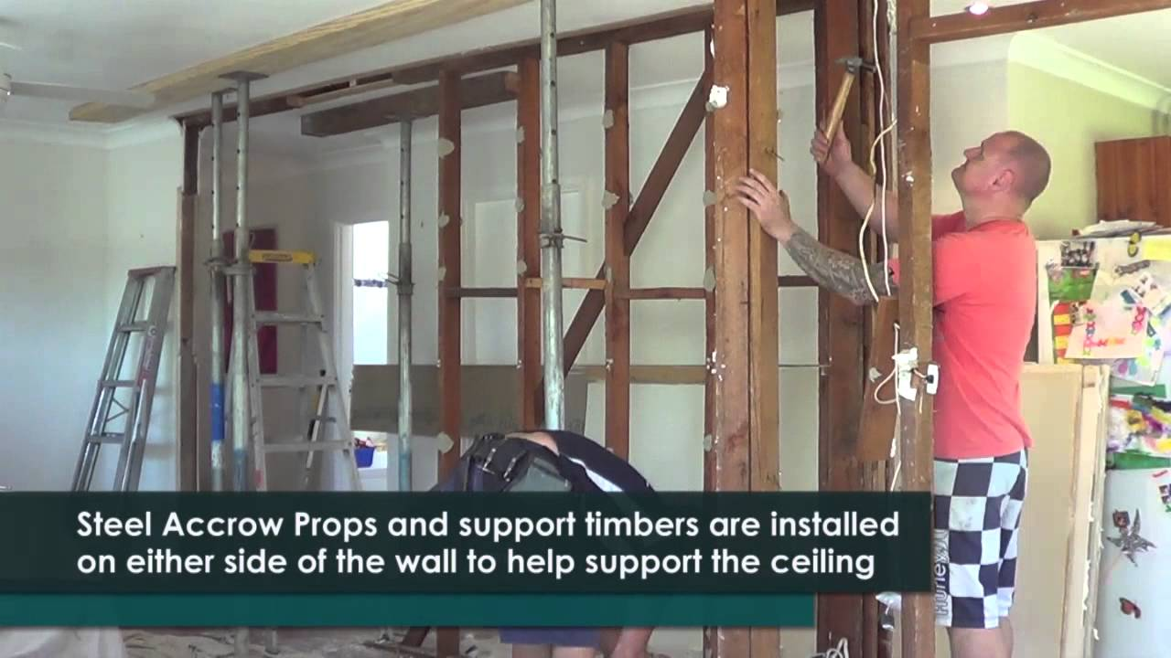 How to remove a timber load bearing wall youtube for Can a load bearing wall be removed