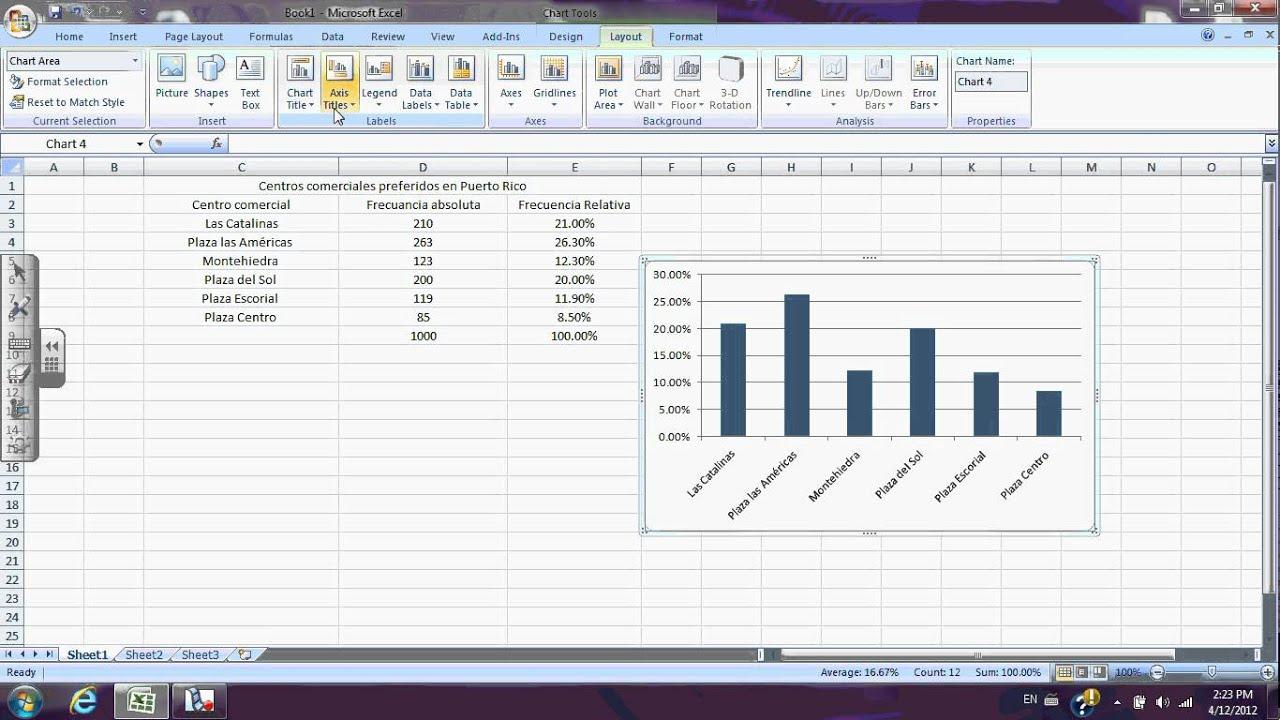 Barras de Excel 2013 Gráfica de Barra en Excel