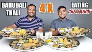 4 X BAHUBALI THALI EATING CHALLENGE   Veg Thali Eating Competition   Food Challenge