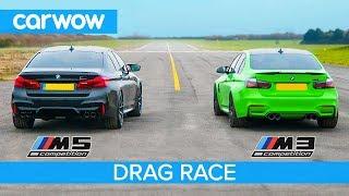BMW M5 Comp v BMW M3 Comp - RWD-mode DRAG RACE, ROLLING RACE & BRAKE TEST