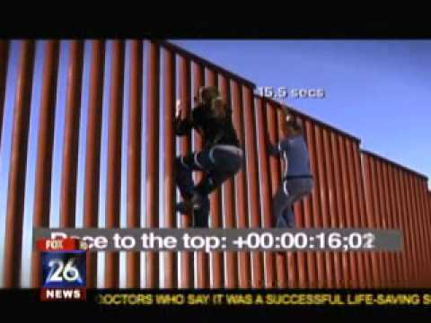 Two young women climb a U.S.-Mexico border fence in 18 senonds. What a fraud. Millions of dollars in taxpayer money hard at work. Homeland Security Cancels '...