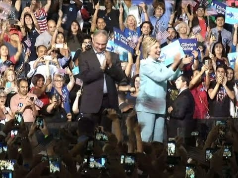 Raw: Clinton, Running Mate Make First Appearance