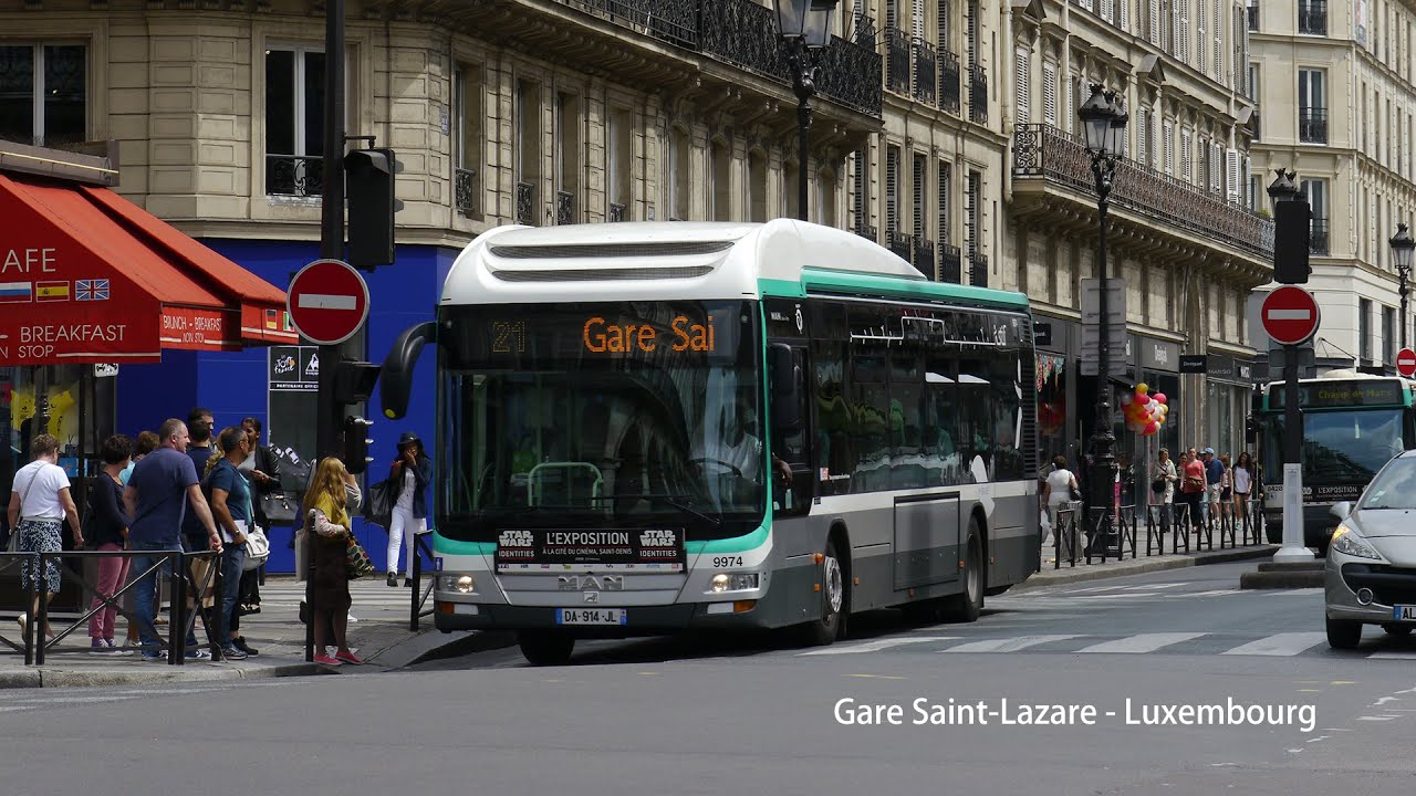 paris bus ratp man lion 39 s city hybrid on from gare saint lazare to luxembourg youtube. Black Bedroom Furniture Sets. Home Design Ideas