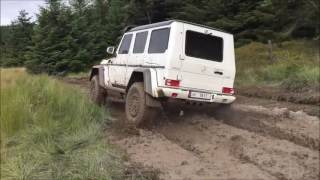 Awesome Mercedes G- 500 4x4 squared in action in Wales