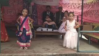 Upper Kindergarten students performing in Dr Maria Montessori Preschool, Baglung