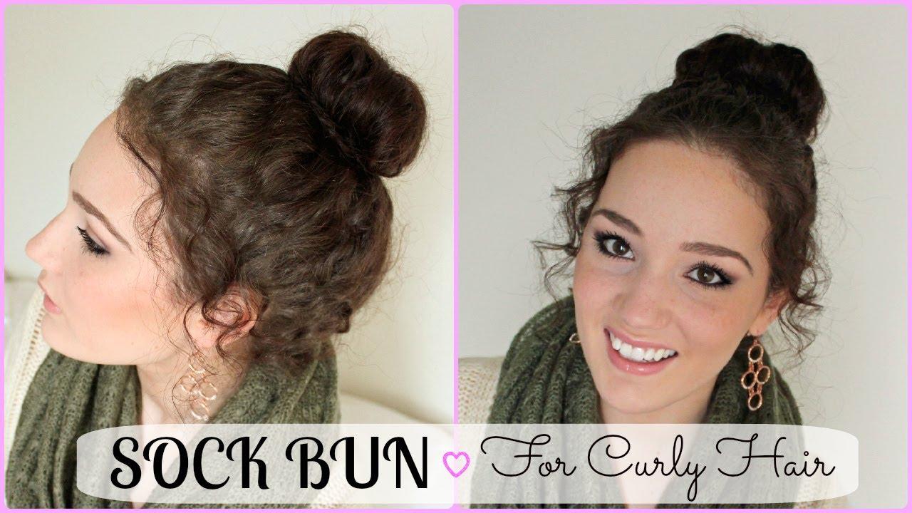 Sock Bun Hair Tutorial for Curly Hair - Holiday Hair Tutorial