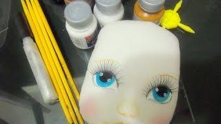 Como pintar rosto de boneca de pano /Как рисовать лицо тряпичная кукла в