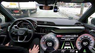 Audi Q3: Adaptive Cruise Assist (on highway & traffic jam) real-life test :: [1001cars]